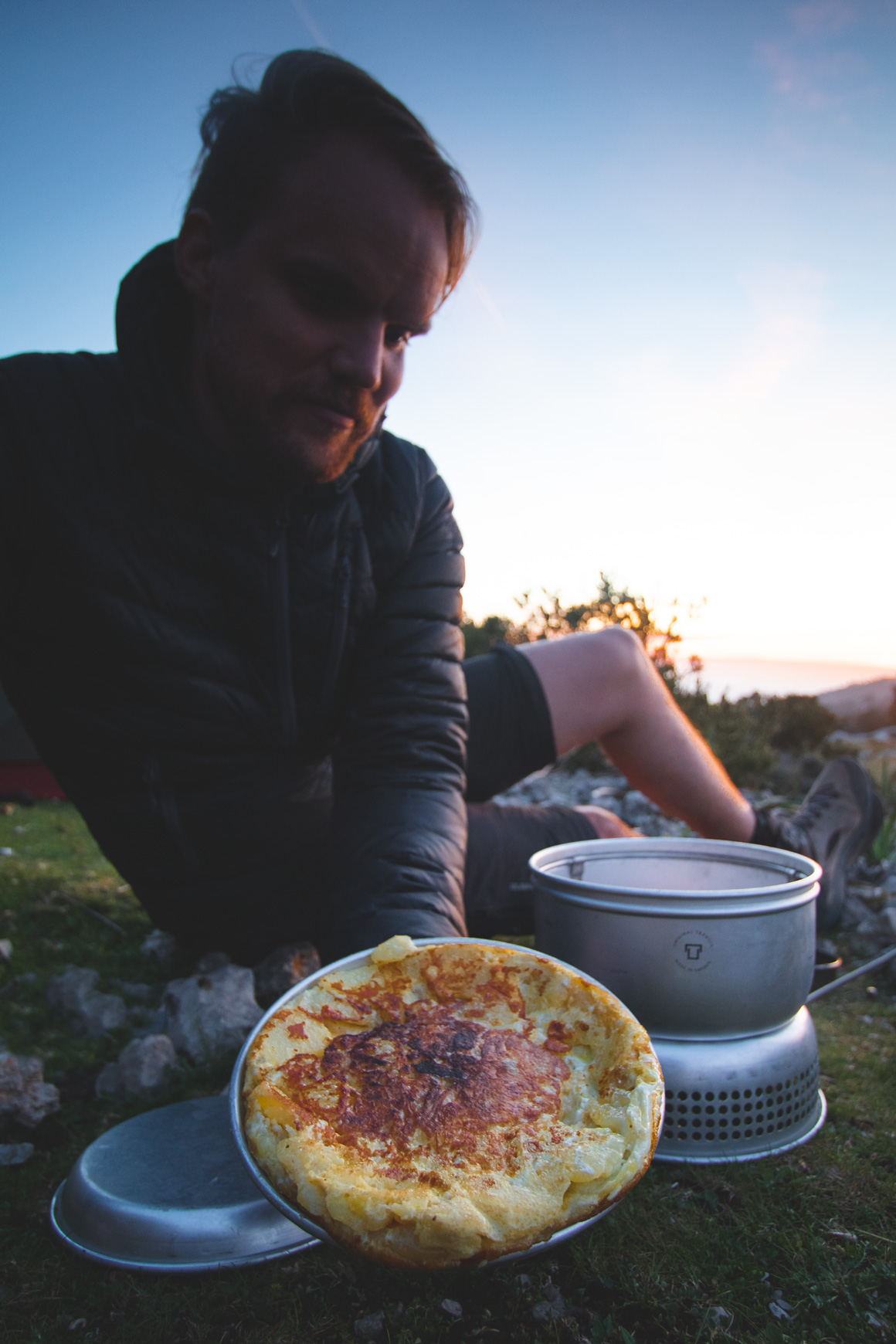 Proud Jan, presenting his Tortilla Española, cooked with the Trangia 25-4 UL (Ultralight Aluminium) Cooking Set