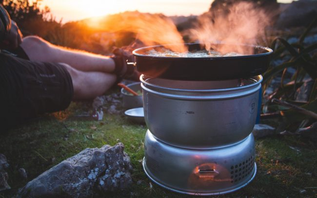 The Trangia 25-4 UL (Ultralight Aluminium) Cooking Set in front of a mallorcan sunset