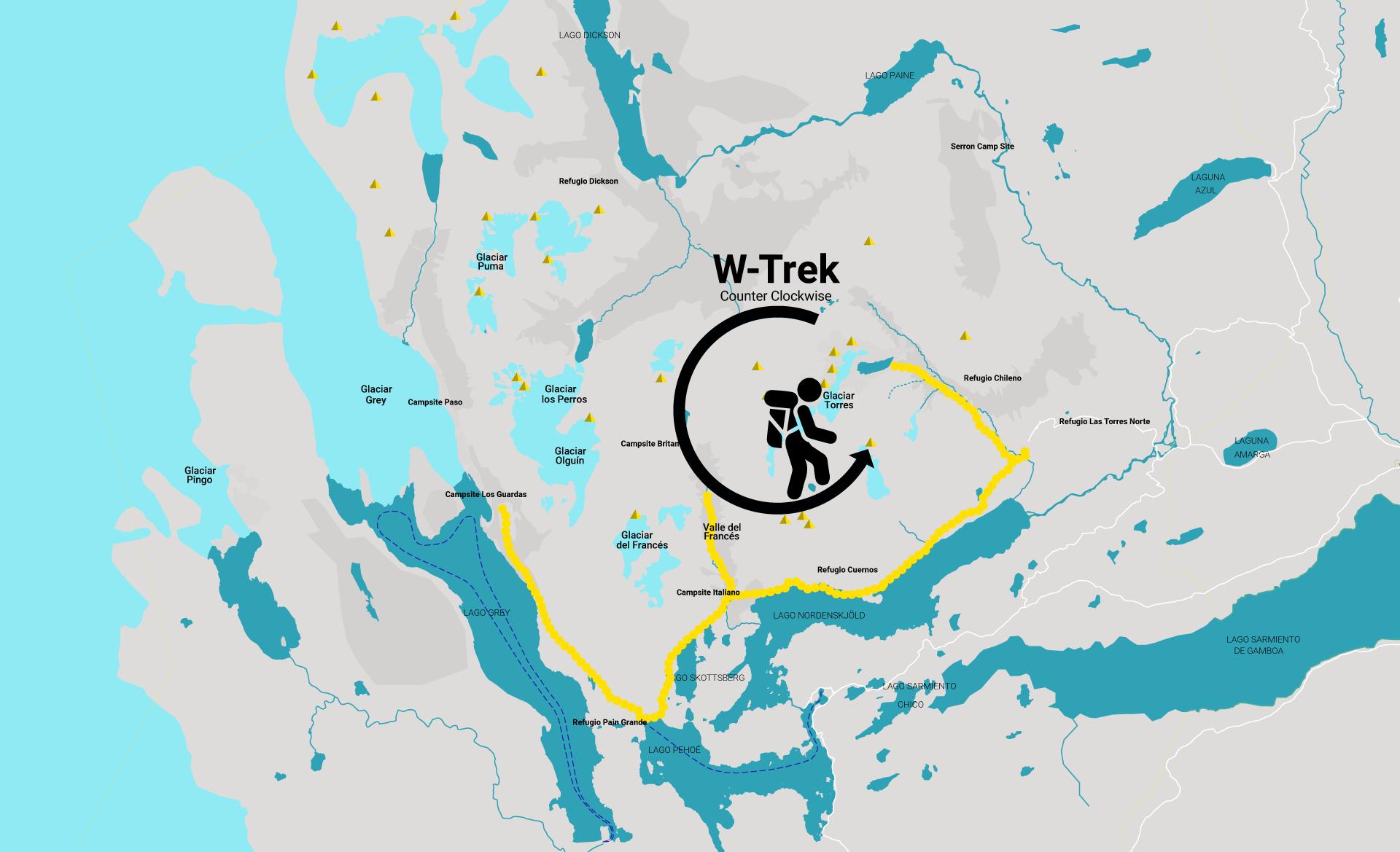 Hiking direction W Trek Map
