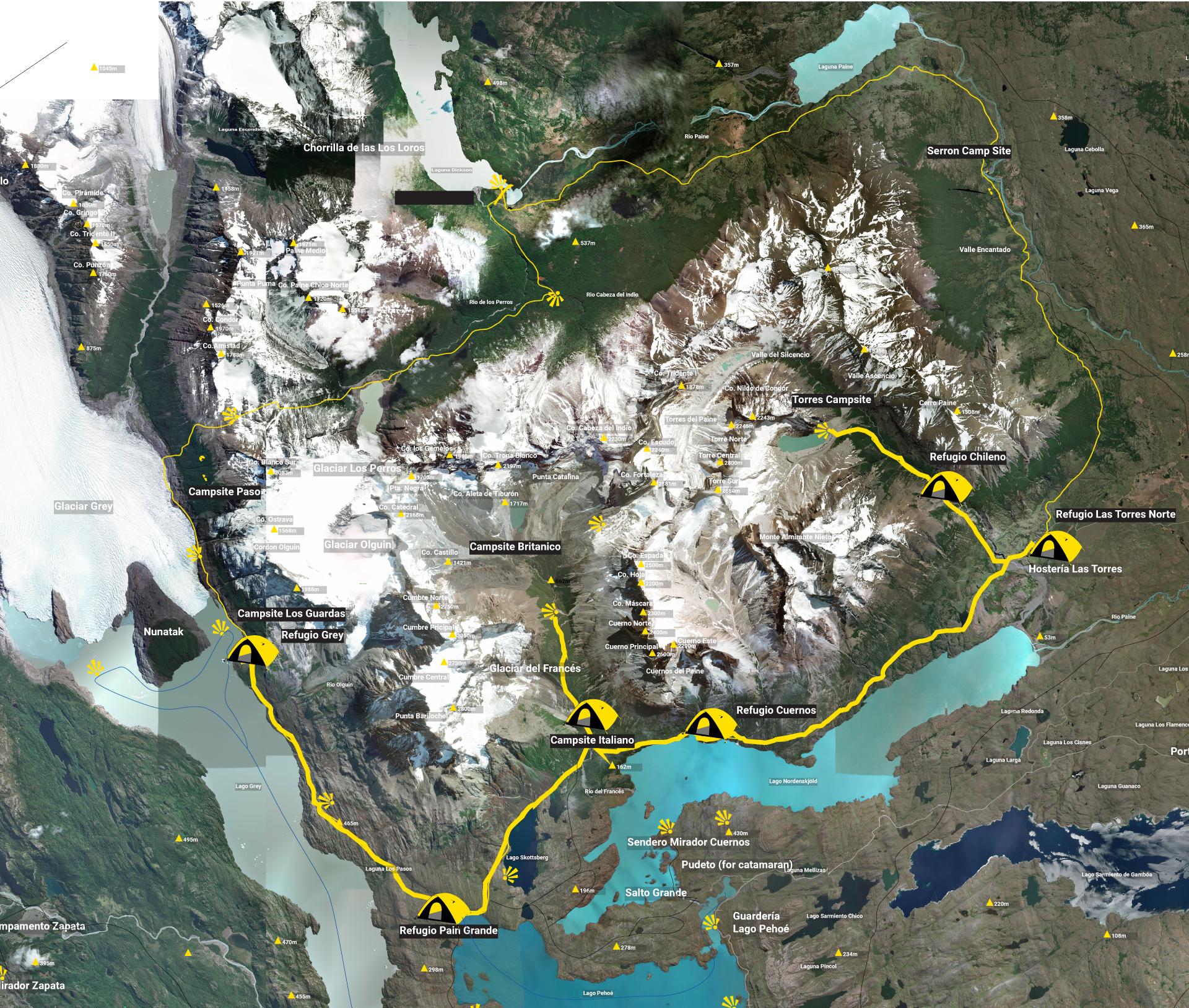 Map W-Trek Patagonia Chile Torres del Paine