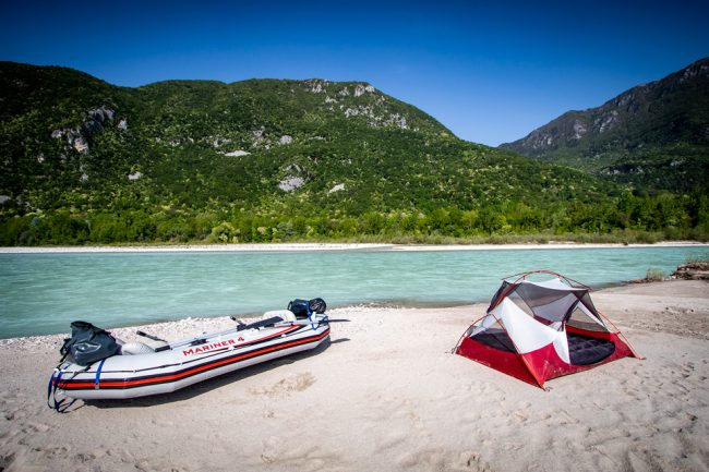 Rafting the Tagliamento in Italy | Inflatable Boat Tour | Campsite with boat | Outside Material