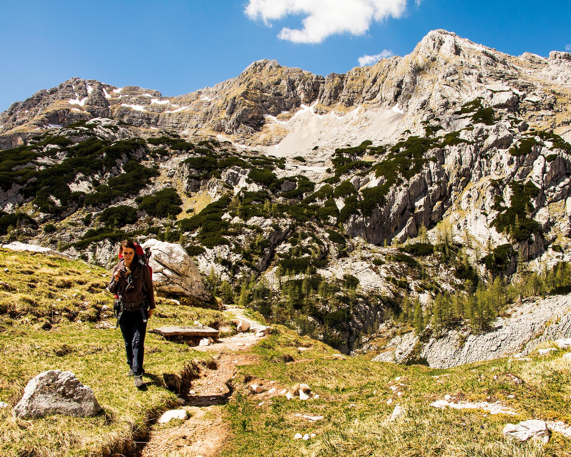 Woman hiking in the Julian Alps