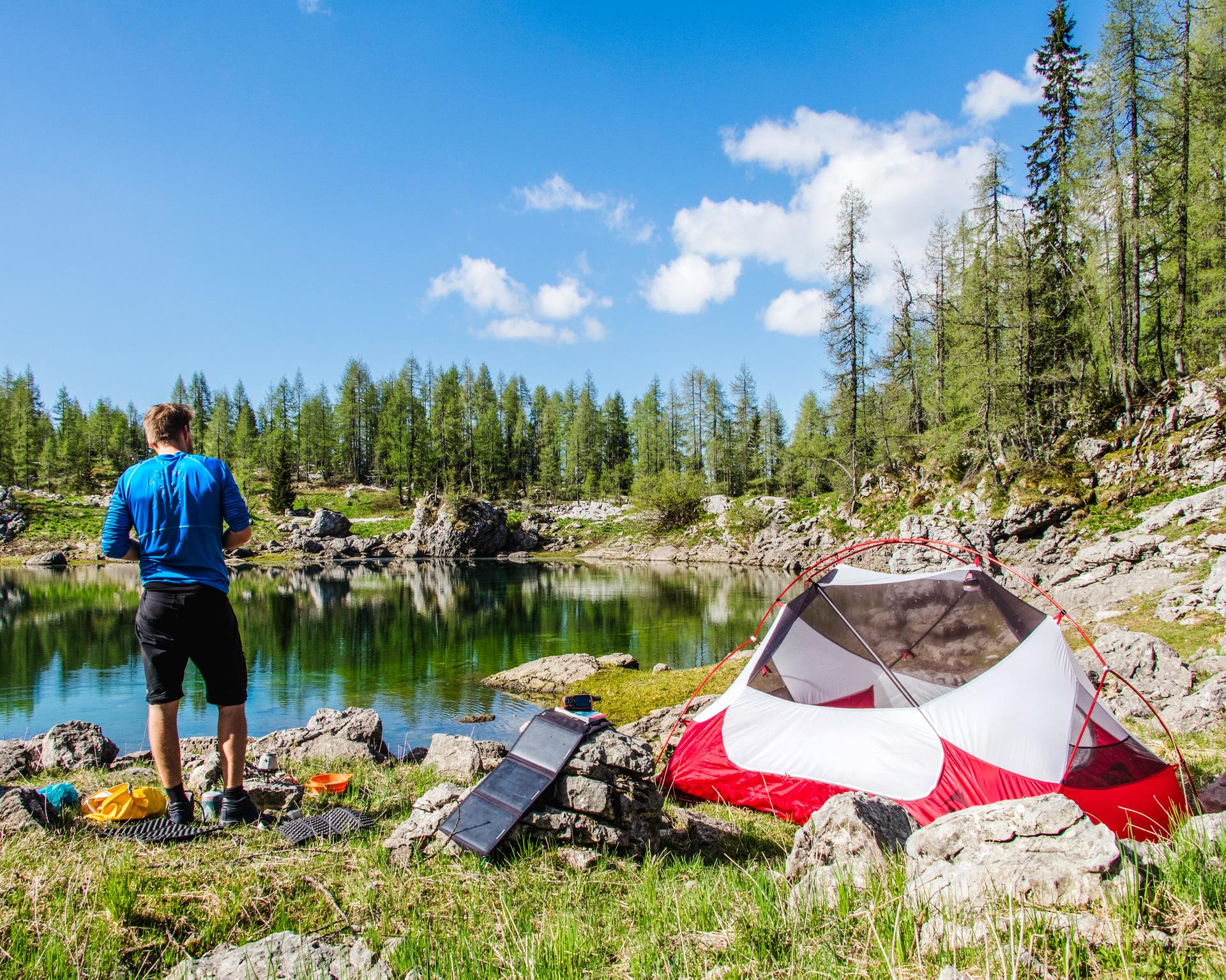 MSR Hubba Hubba campsite at the lake close to Dvojno Jezero