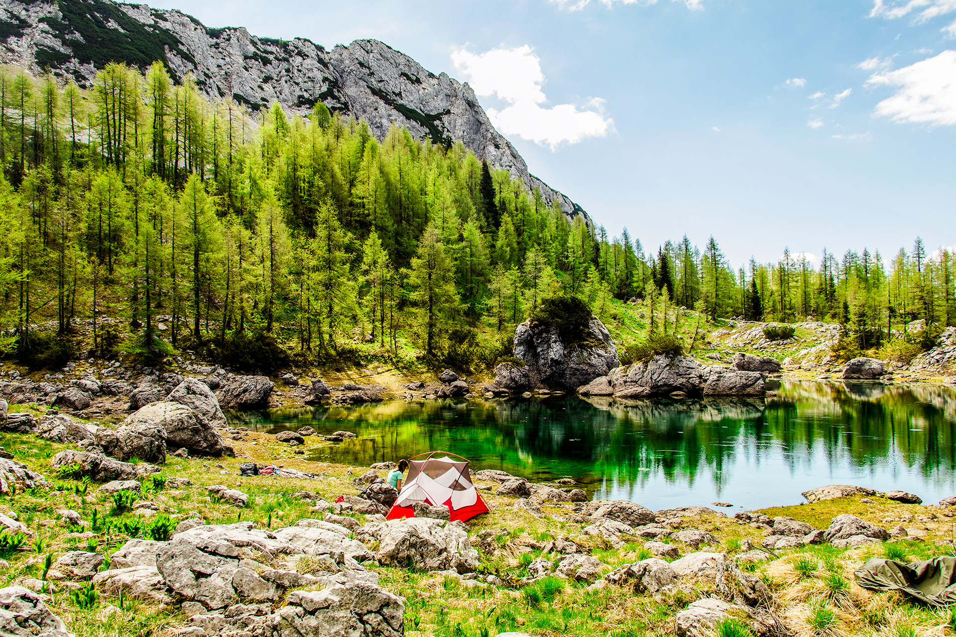 Camping at Dvojno Jezero in the Julian Alps