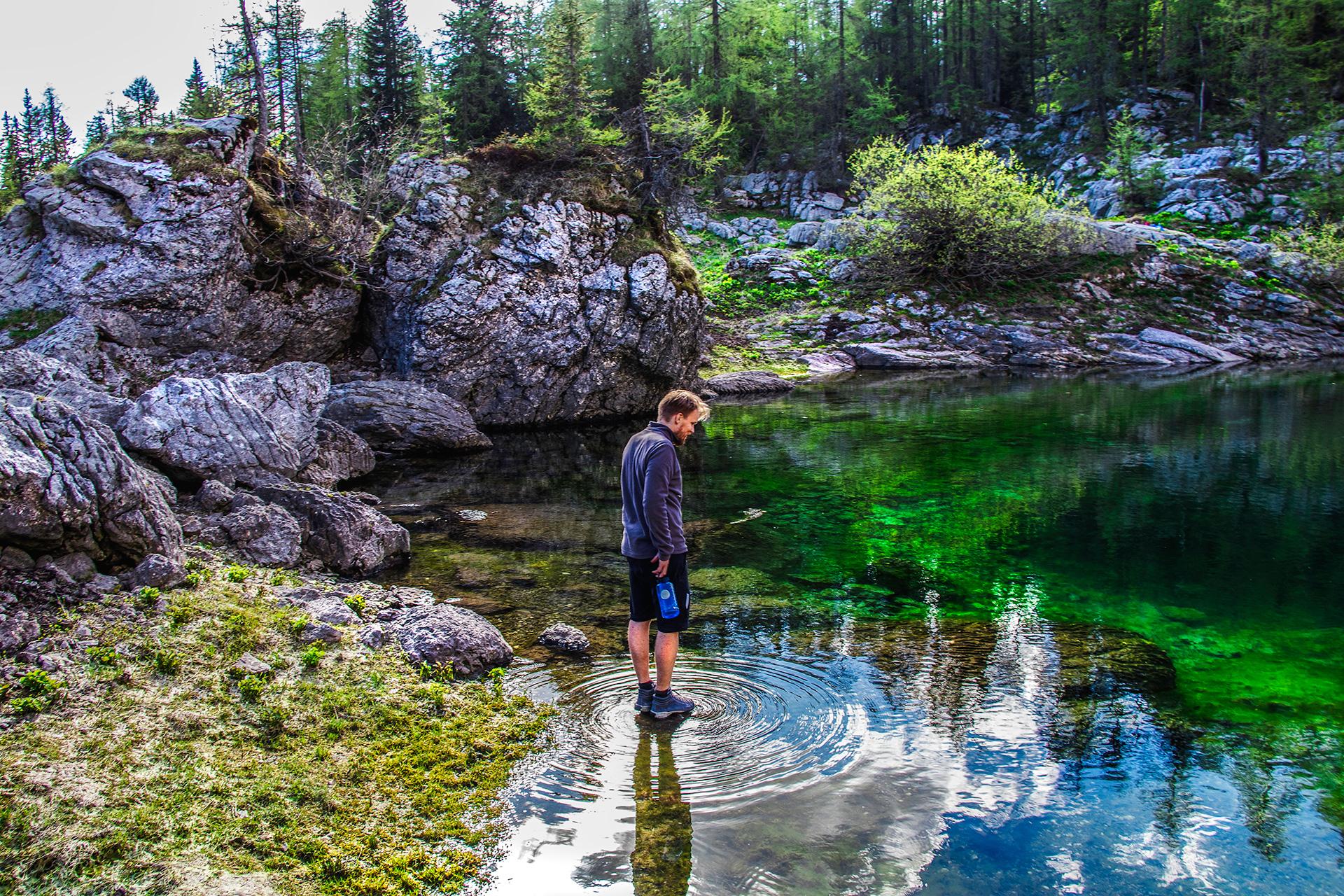 Man walking on water at Dvojno Jezero