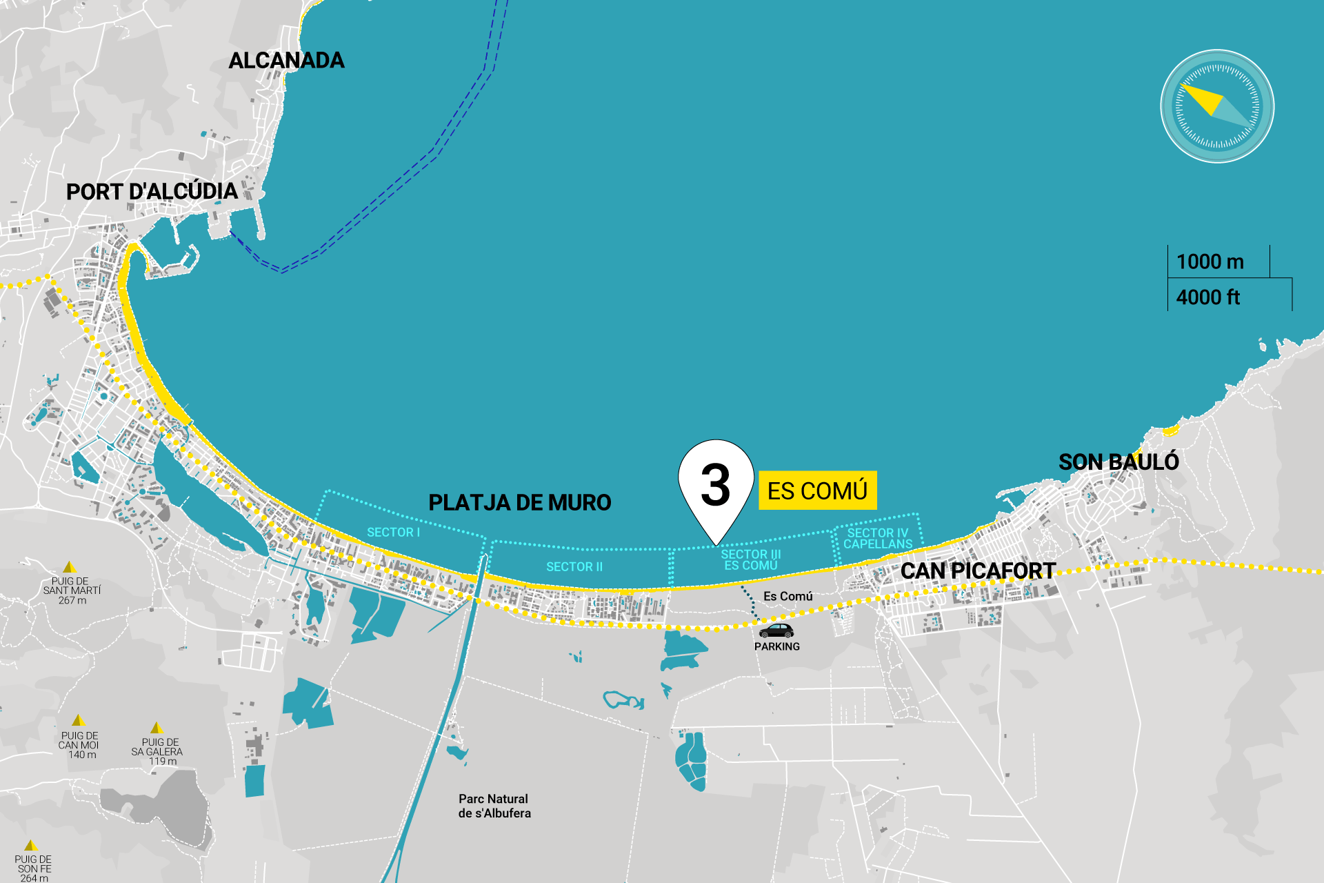 Map of the 4 Sections Playa del Muro