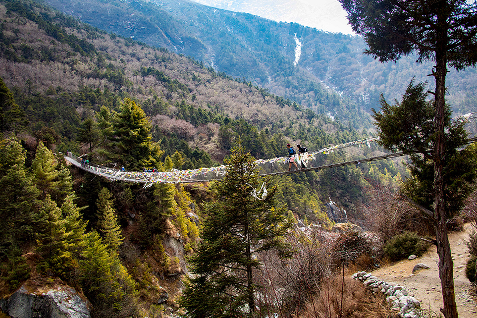 bridge with Sherpas in the Khumbu region