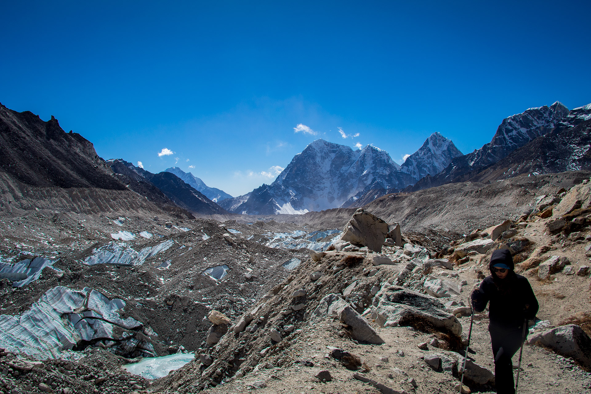 Mountains and Khumbu glacier