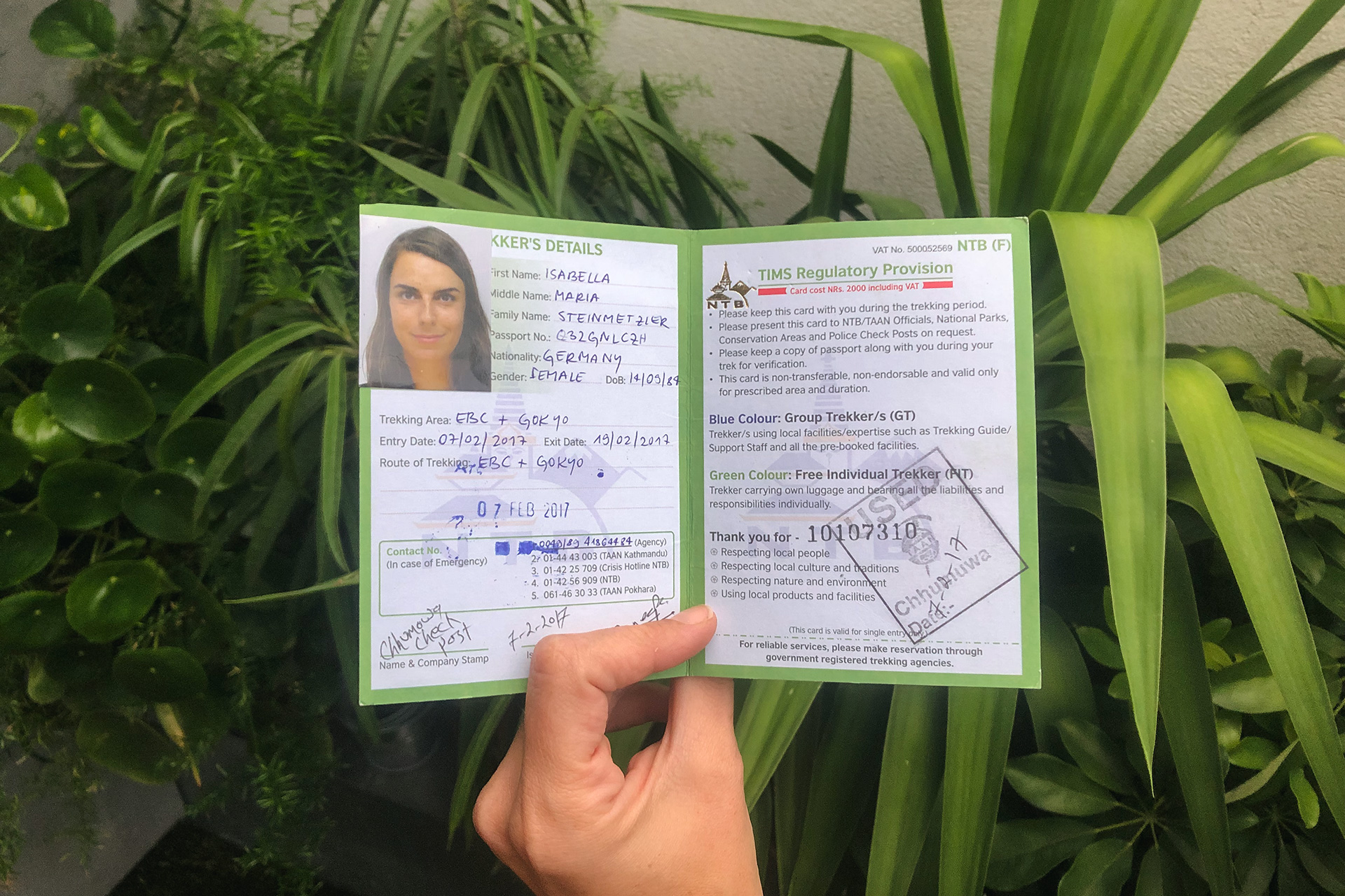 Our TIMS Card | How to get your TIMS Card and trekking permits in Nepal