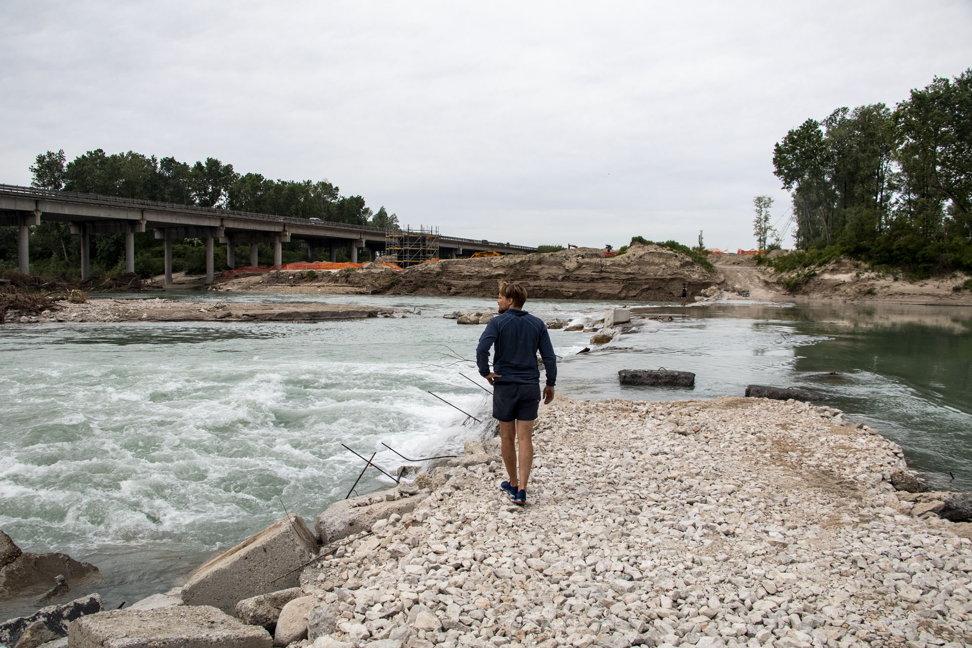 Construction stage at end of Tagliamento River