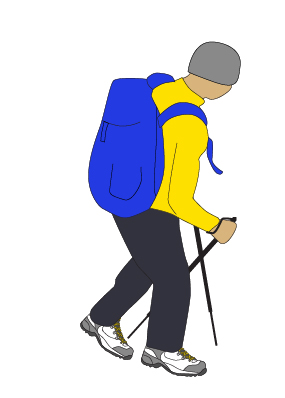 Walking school | Hiker downhill | Graphic
